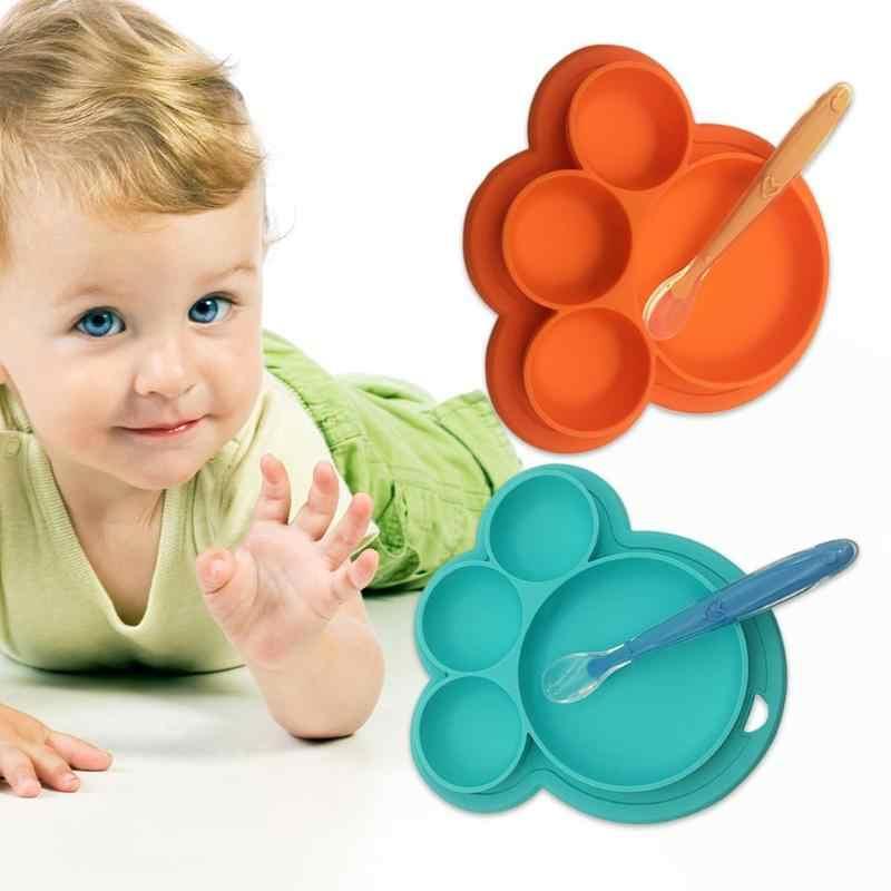 ทารกอาหารเด็กแผ่น Sucker ชามเด็กวัยหัดเดินเด็กทารกให้อาหารฝาปิดชามพร้อมช้อน Learnning Dishes