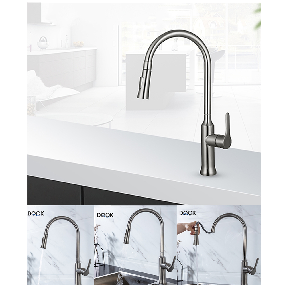 Brushed Nickel Kitchen Mixer Faucet Single Hole Pull Out Spout Kitchen Sink Mixer Tap With Stream Sprayer Head Kitchen Tap