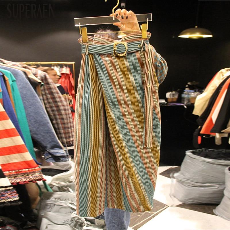 SuperAen Korean Style Women Skirts Cotton Autumn New 2019 Temperament Ladies Skirts Stripes Wild Skirts Female
