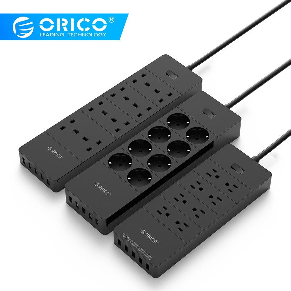 ORICO multiprise ue prise britannique prise électrique 8 prises multiprise de protection contre les surtensions avec Ports USB 5x2. 4A Super chargeur