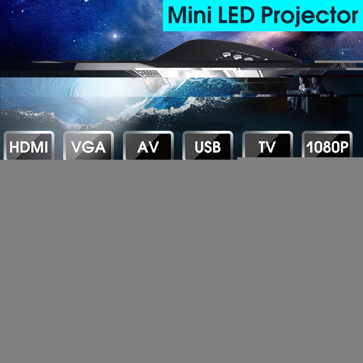 Mini Home Cinema Mini Tragbare 1080P 3D HD LED Projektor Multimedia Home Theater USB VGA HDMI TV Unterstützung 4K
