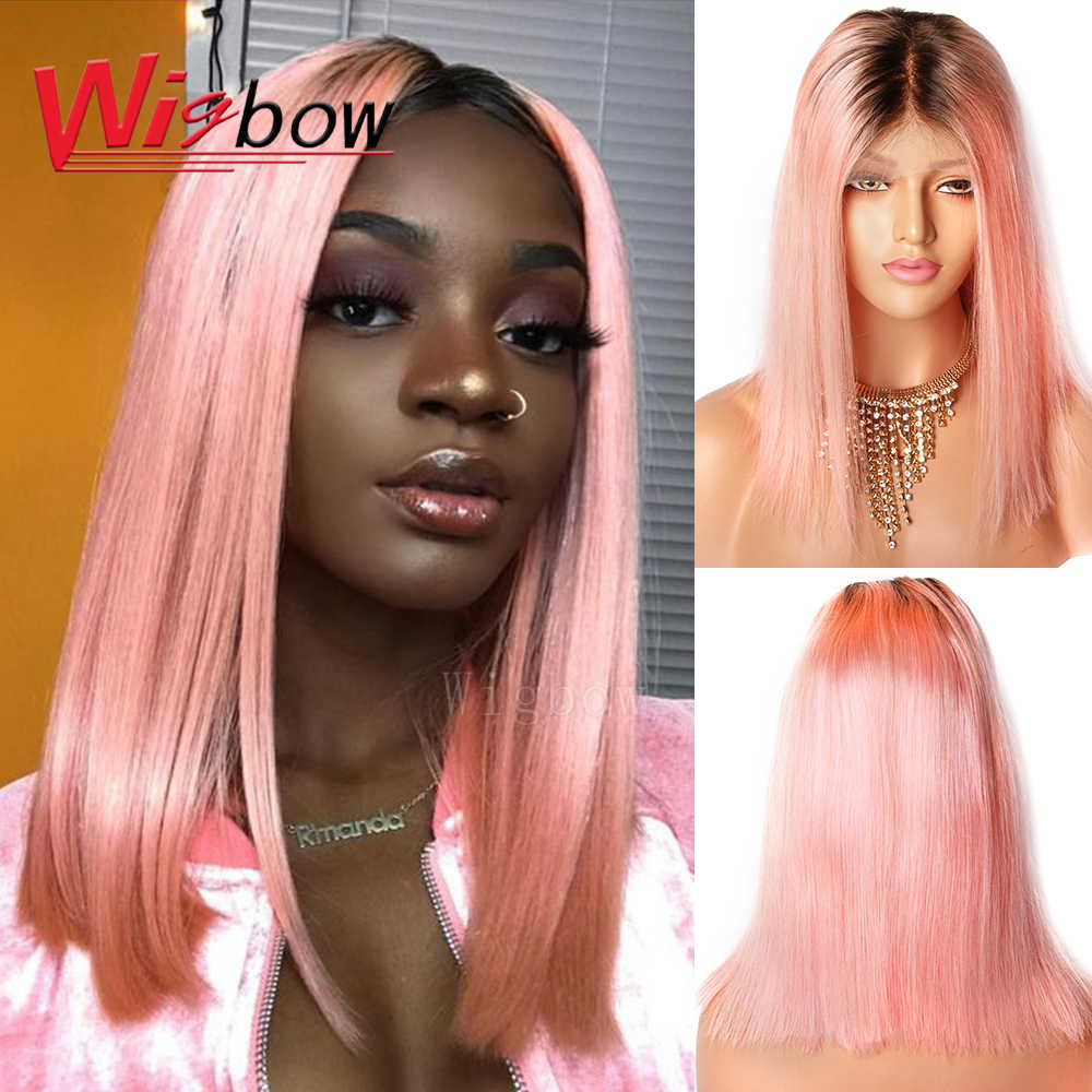 Indian 1B Pink Ombre Lace Front Wigs 13X6 Pre Plucked Pink Remy Human Hair Wigs For Black Women Wigbow