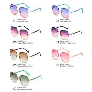 Image 5 - lunette de soleil femme Mode surdimensionné lunettes de soleil femmes 2020 UV400 concepteur sans monture carré lunettes de soleil femme Vintage lunettes de soleil femmes rétro avec boîte Sunglasses Women Miroir Glasses