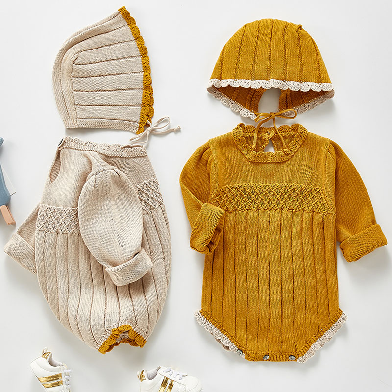 Infant Baby Girls Jumpsuit+hat Cotton Knitting Long Sleeve Toddler Baby Girl Romper Spring Autumn Baby Girls Clothes