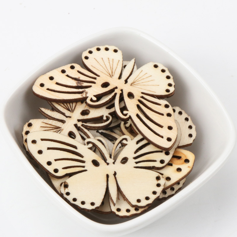 Butterfly Pattern Natrual Wooden Scrapbooking Hollow Craft Random For Home Decoration 32x55mm 5pcs