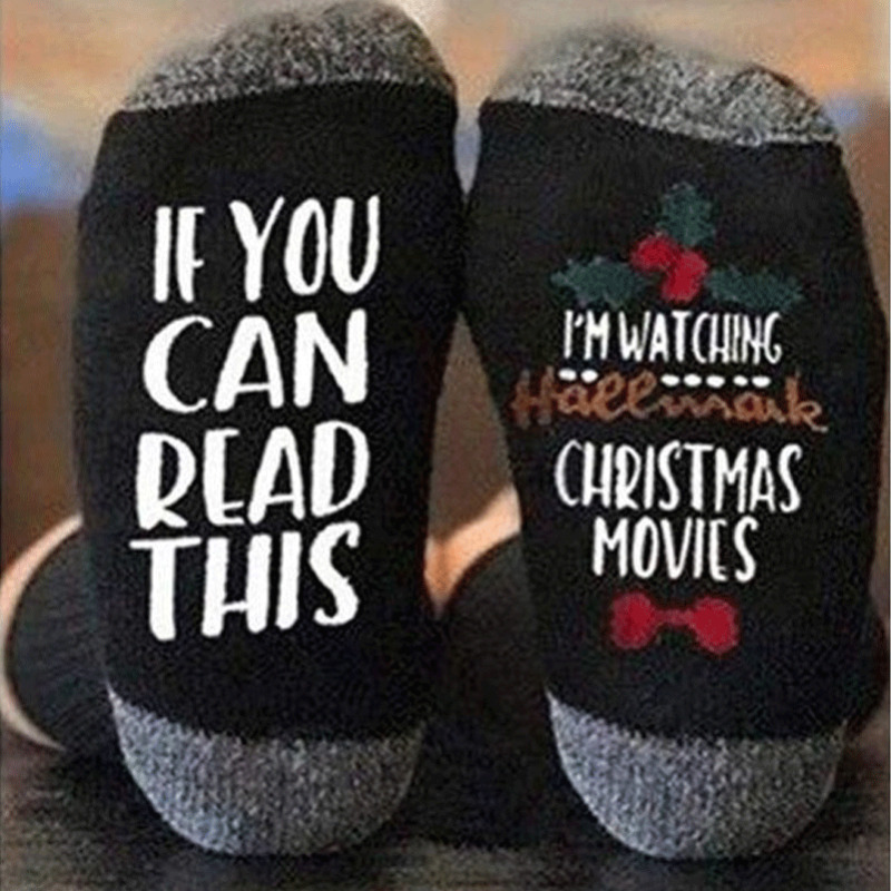 Women's Autumn Christmas Socks Print Letter Cute Funny Socks Funny Christmas Hosiery Winter Warm Socks Xmas If You Can Read This