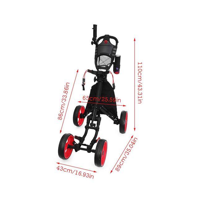 Folding Aluminum Alloy Golf Trolley 4 Wheels Golf Bag Pull Push Cart Umbrella Cup Holder Adjustable Trolley with Footbrake 5