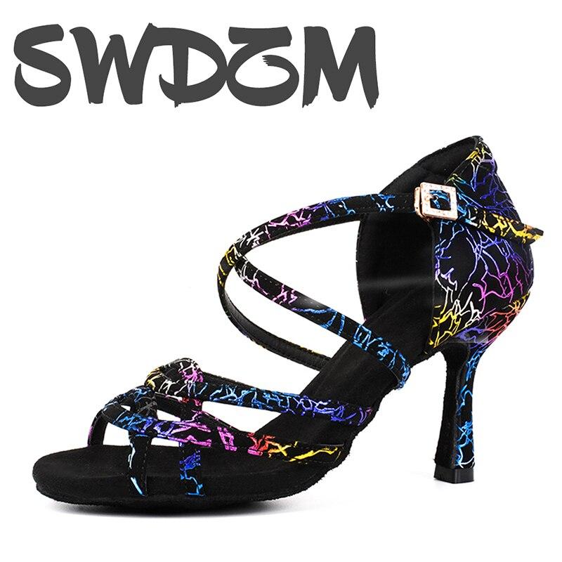 Color Pin Buckle Ballroom Dance Latin Dance Shoes, A 6-9CM Heel Sandal For Urban Women Fashion Ladies