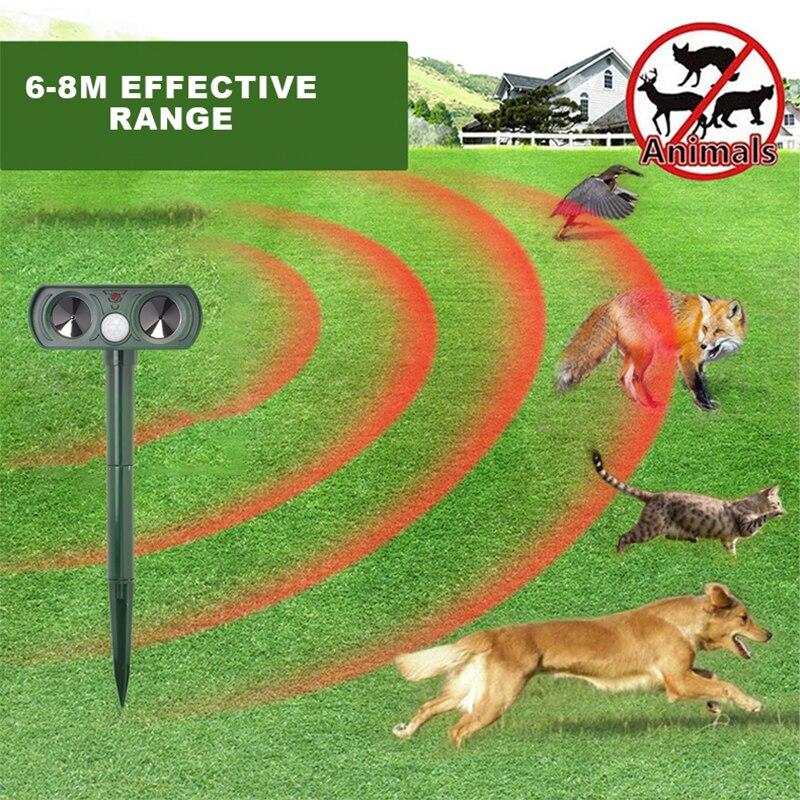 Solar Powered Ultrasonic Animals Repeller Rat Cat Dog Deterrent Scarer Repellent For Outdoor Use Garden Supplies