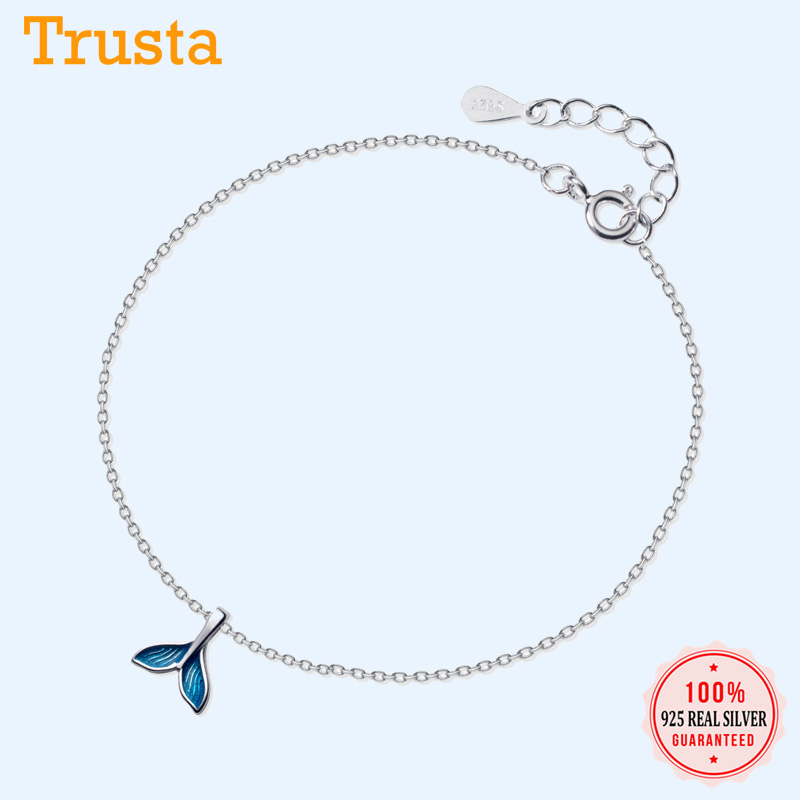 Trustdavis Genuine 100% 925 Sterling Silver Sweet 2019 Blue Fishtail 20cm Anklets For Women Lady Wedding Jewelry Gift DS1715