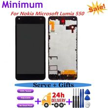 "Per Microsoft Per Nokia Lumia 550 Display LCD Touch Screen Digitizer Assembly + Frame di Ricambio Per Nokia 550 4.7"" schermo(China)"