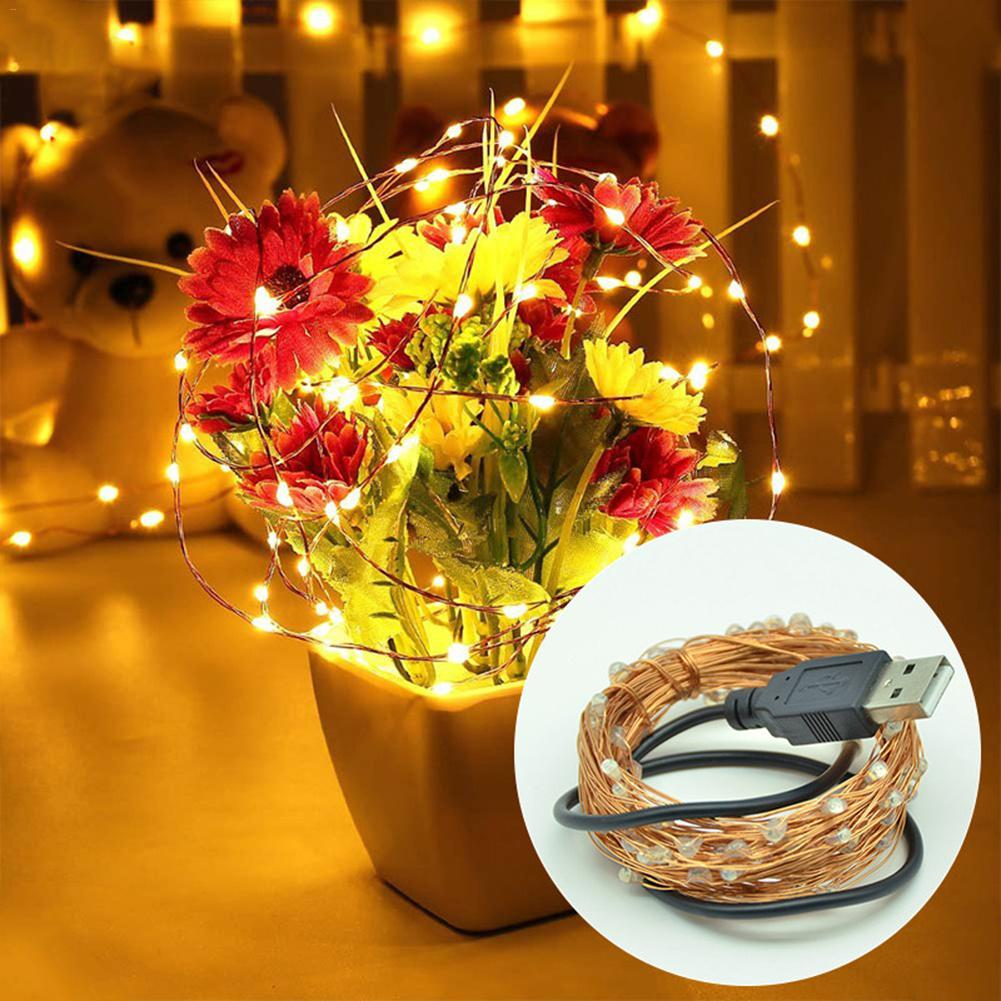 1M to 4M Copper Wire LED String Lights Holiday Lighting Fairy Garland For Christmas Tree Wedding Party Decoration USB Connect