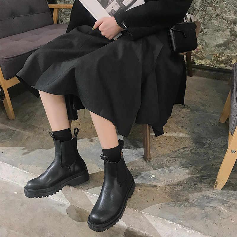 Women Chunky ส้นรองเท้าข้อเท้ารองเท้าผู้หญิงรองเท้าฤดูใบไม้ผลิยี่ห้อ Designer รองเท้าเชลซีหญิงแพลตฟอร์มรองเท้า Lasdies แฟชั่น