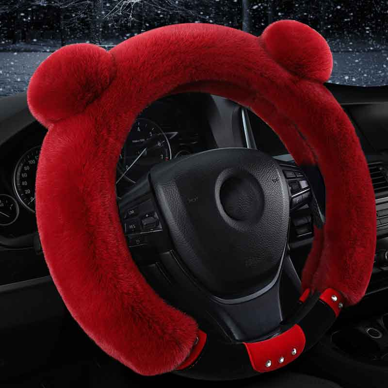 Cute winter Plush Car steering wheel cover for peugeot 106 2008 205 206 207 3008 301 306 307 pcs 308 4007 4008 405 406 407 5008