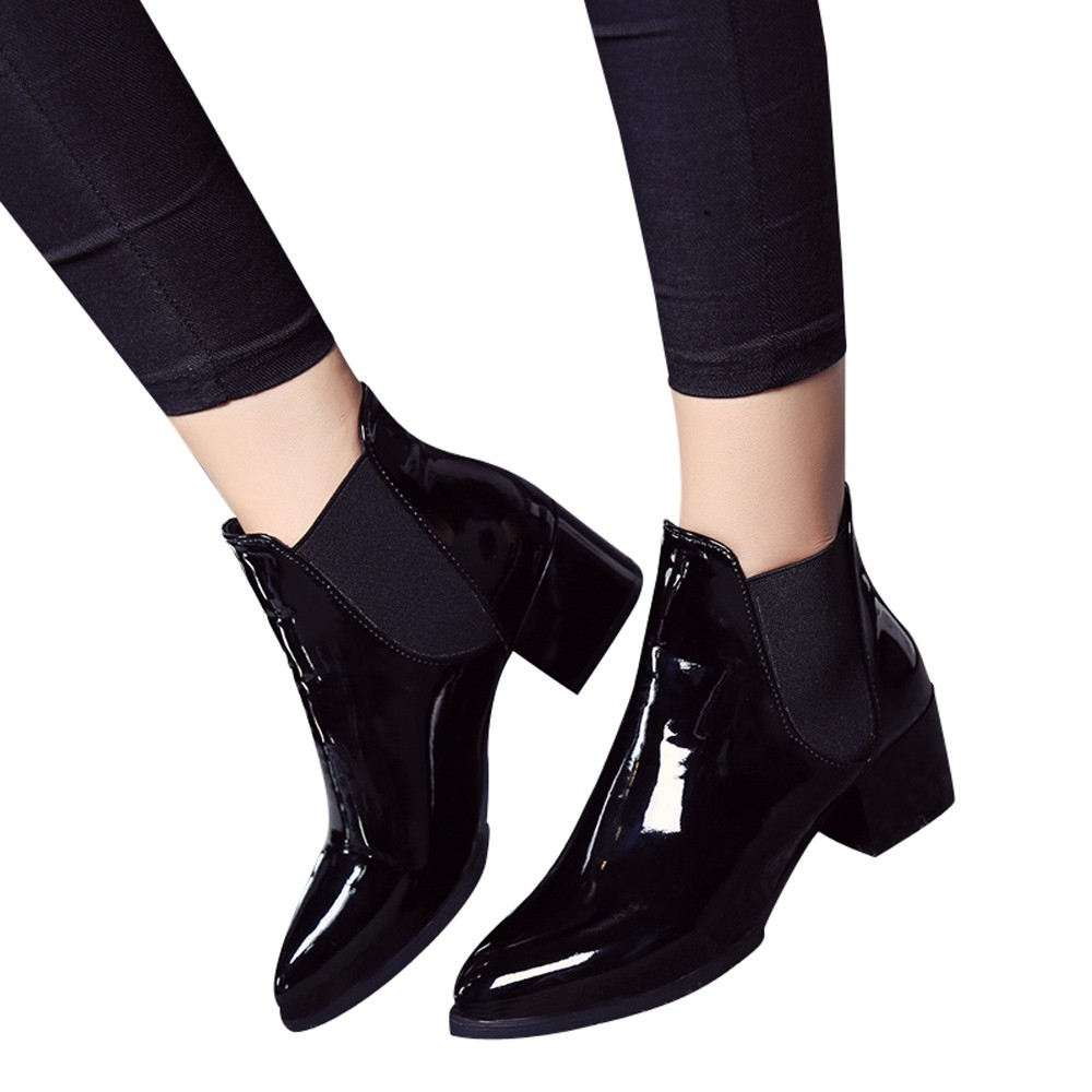 Sexy Shoes Boots Low-Heel Pointed Patent Leather New-Fashion Ankle Elasticated Botas-Mujer title=