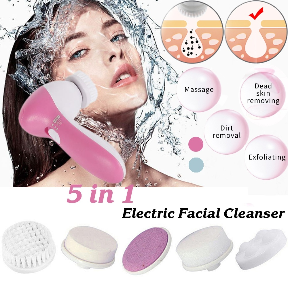 5 In 1 Professional Electric Facial Cleanser Wash Face Machine Pore Cleaner Mini Beauty Massager Brush Face Cleaning Skin Care