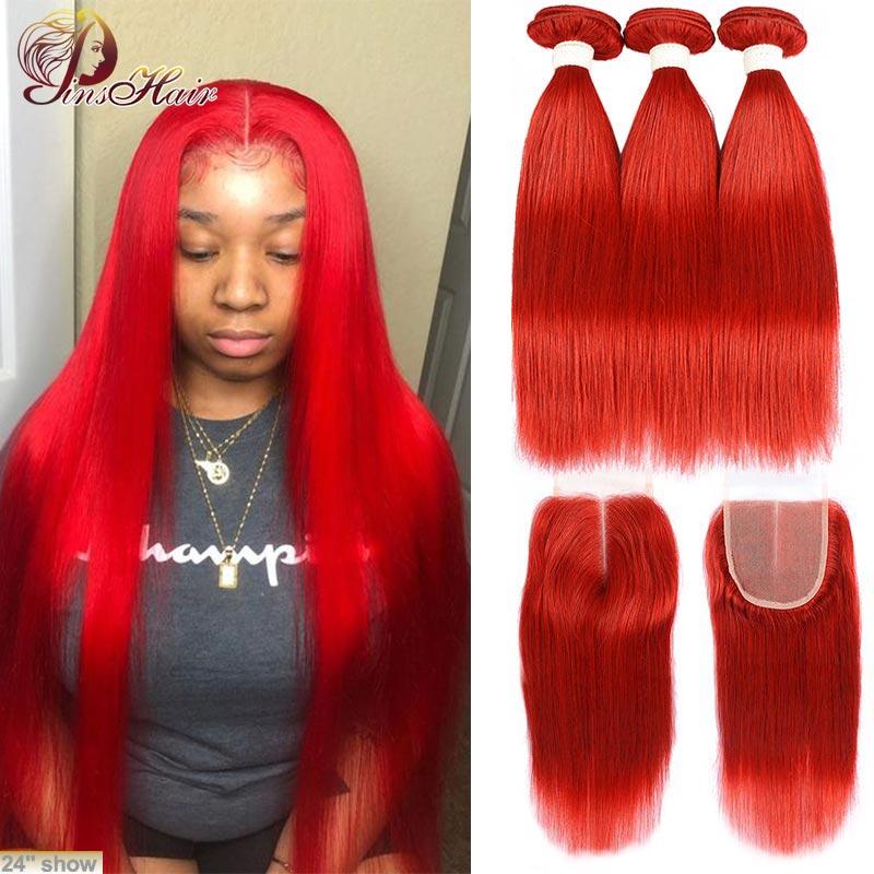 Pacotes vermelhos com fechamento 99j borgonha cabelo humano brasileiro em linha reta 3 pacotes com fechamento pinshair remy cabelo 10-26 polegadas