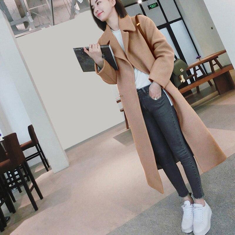 Новая мода длинные шерстяные пальто Однобортный тонкий Тип Женская зимняя обувь пальто Для женщин женский осень-зима Шерстяное пальто