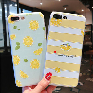 Image 2 - Summer small fresh fruit phone case for iPhone X XS8 7 6 6S PluS  5 5s 5SE silicone 3D embossed soft shell drop protection cover