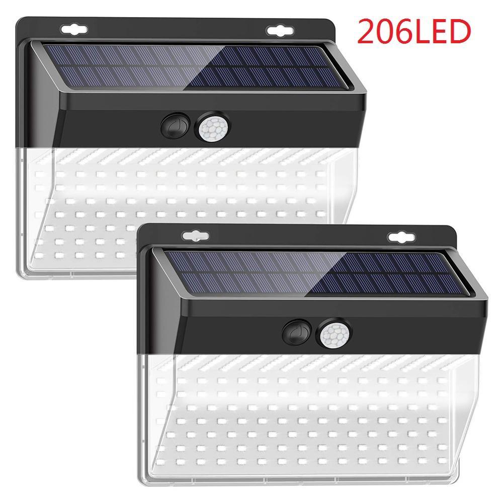 2pcs 118/206LED Solar Motion Sensor Wall Light Outdoor Waterproof Yard Lamp