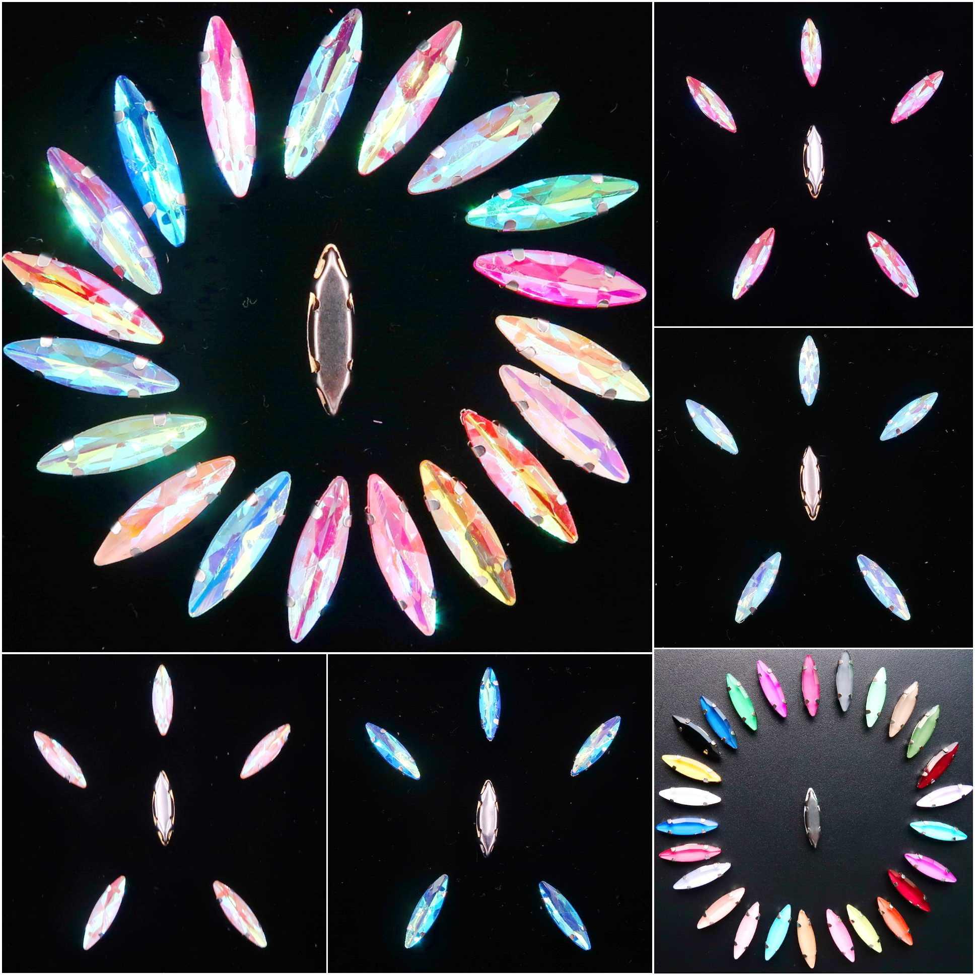 Srebrny pazur ustawienia 50 sztuk/paczka 4*15mm galaretki cukierki szkło kryształowe Navette Marquise kształt szyć na rhinestone kryształy odzież diy