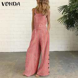 VONDA Women Jumpsuits Loose Wide Leg Full Length Women Sexy Sleeveless Vintage Checked Plaid Suspenders Playsuits Casual Overall