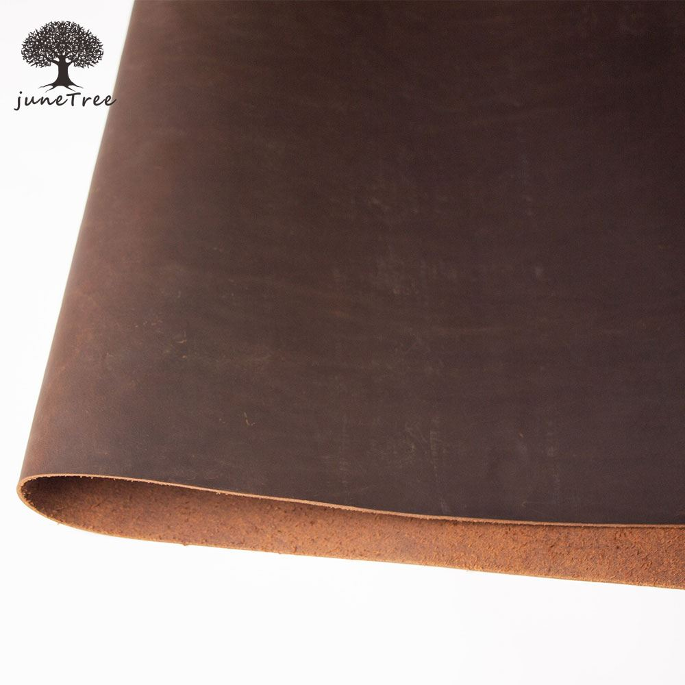 Cowhide First Layer of Leather hides cow skin thick genuine leather 2 mm dark brown Crazy Horse Leather piece Material DIY image