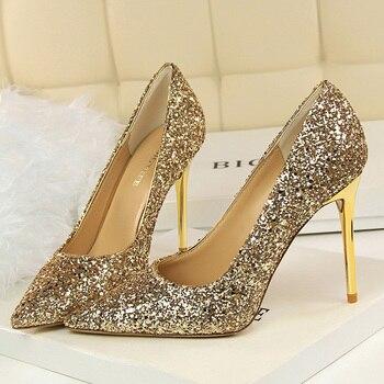 9.5cm High Heels Glitter Scarpins Pumps  3