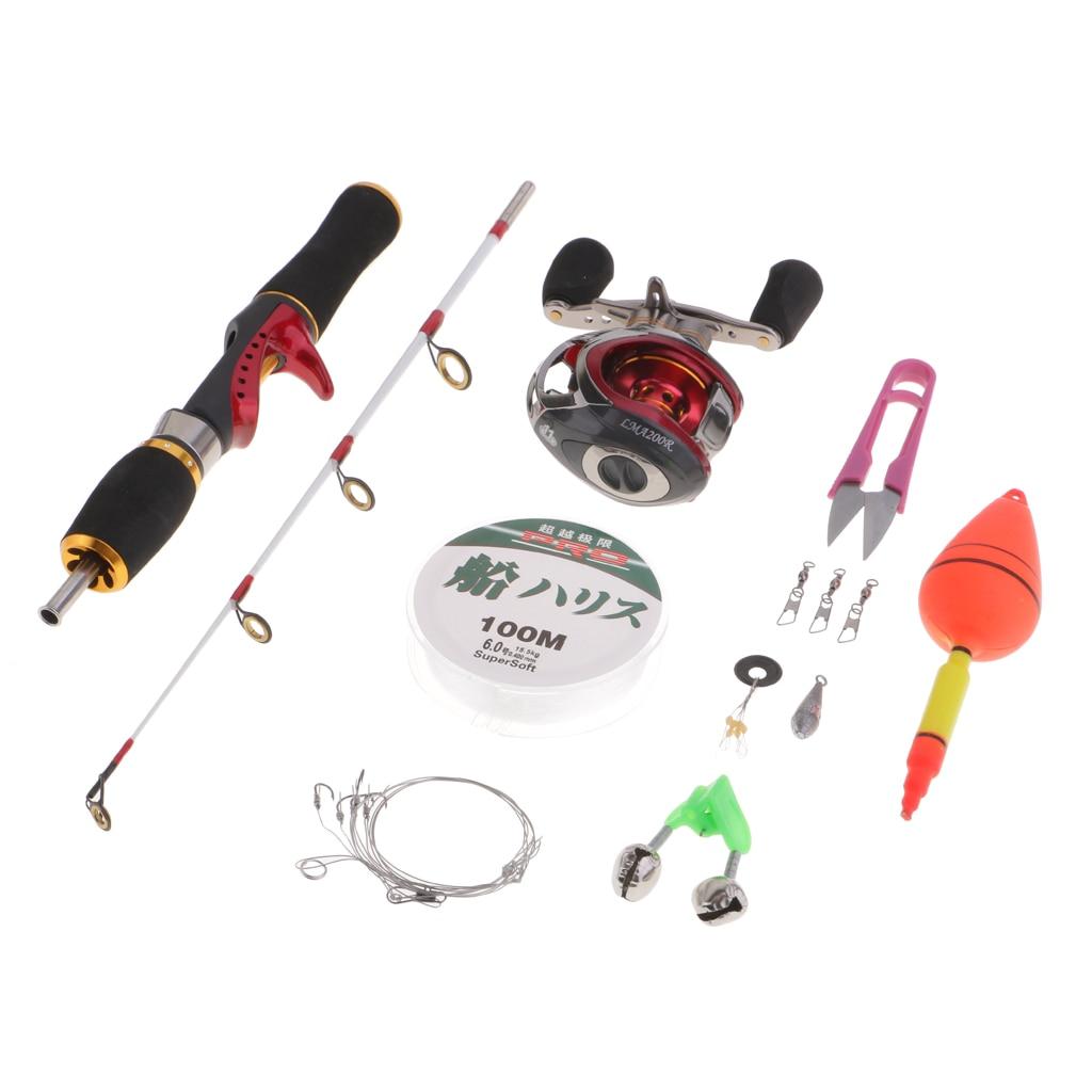 Canne à pêche sur glace Portable et moulinet Combo avec/ligne/flotteur/ciseaux/haricot spatial/crochet/cloche/pesée/boutons pression