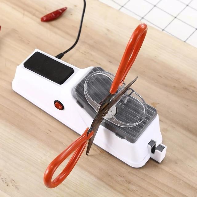 Afilador de cuchillos eléctrico USB, herramienta ajustable para cuchillos de cocina, tijeras, afilador blanco, hoja de molienda media y fina 4
