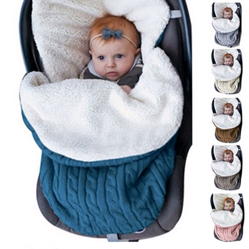 Baby Sleeping Bag Newborn Winter Autumn Warm  Infant Stroller Cotton Knitted Envelopes Blanket Unisex Fleece Sleep Sack