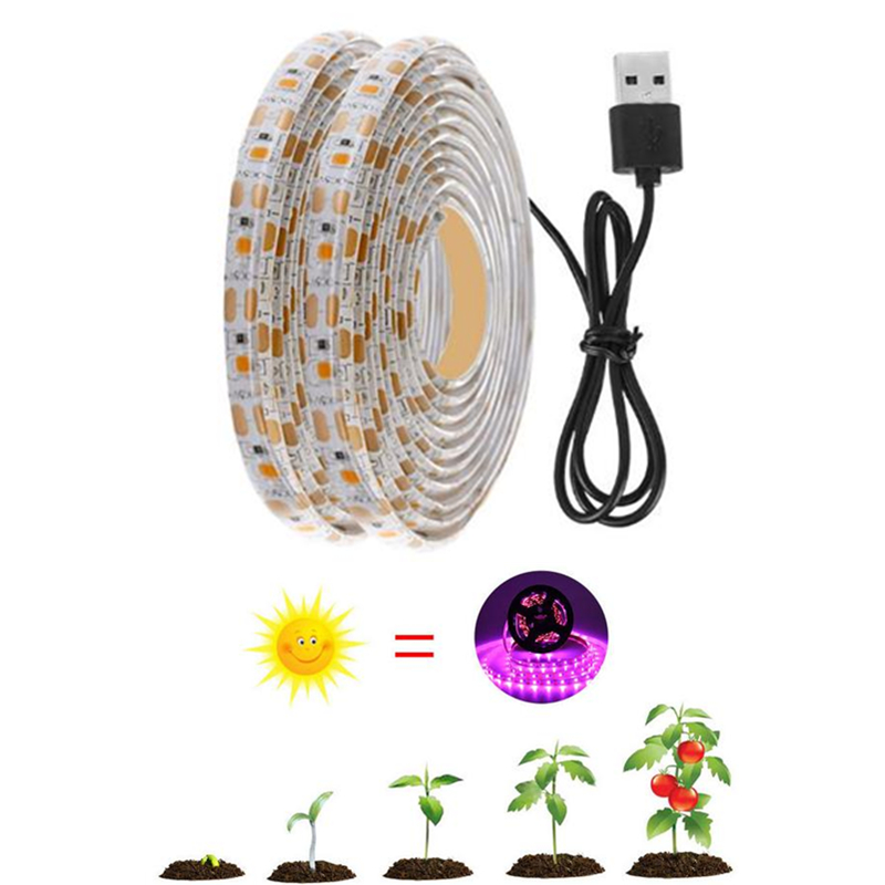 0.5m 1m 2m LED Grow Light Full Spectrum USB Grow Lights Strip 2835 Chip LED Phyto Lamp For Plants Flowers Greenhouse Hydroponic