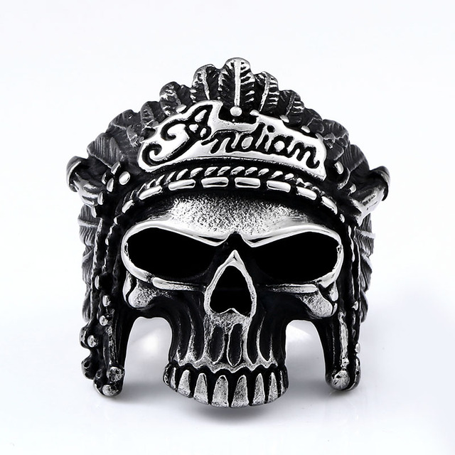 STAINLESS STEEL INDIANA PHAROAH SKULL RINGS