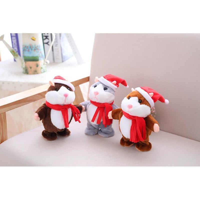 아기 어린이 크리스마스 선물 반복 말하기 햄스터 마우스 애완 동물 플러시 장난감 뜨거운 귀여운 말하기 사운드 레코드 햄스터 교육 어린이