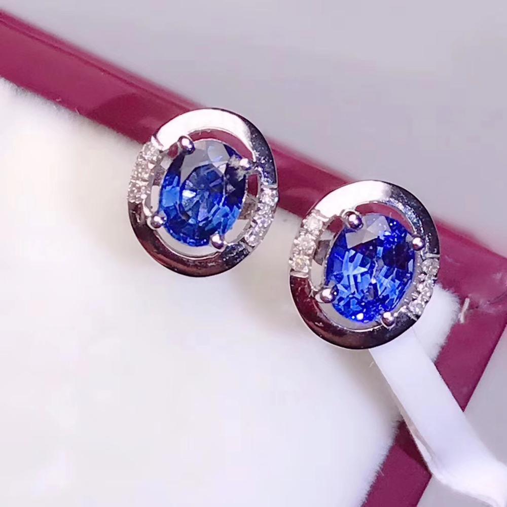 Natural Sri Lanka Sapphire Ear Nails, Simple and Delicate, Bright Blue, 925 Pure Silver