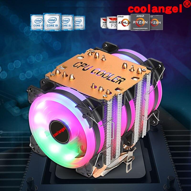 X79 X99 Процессор кулер 6 тепловыми трубами 4 Pin PWM RGB PC тихий Intel LGA 2011 775 1200 1150 1151 1155 AMD AM3 AM4 90 мм Процессор Вентилятор охлаждения