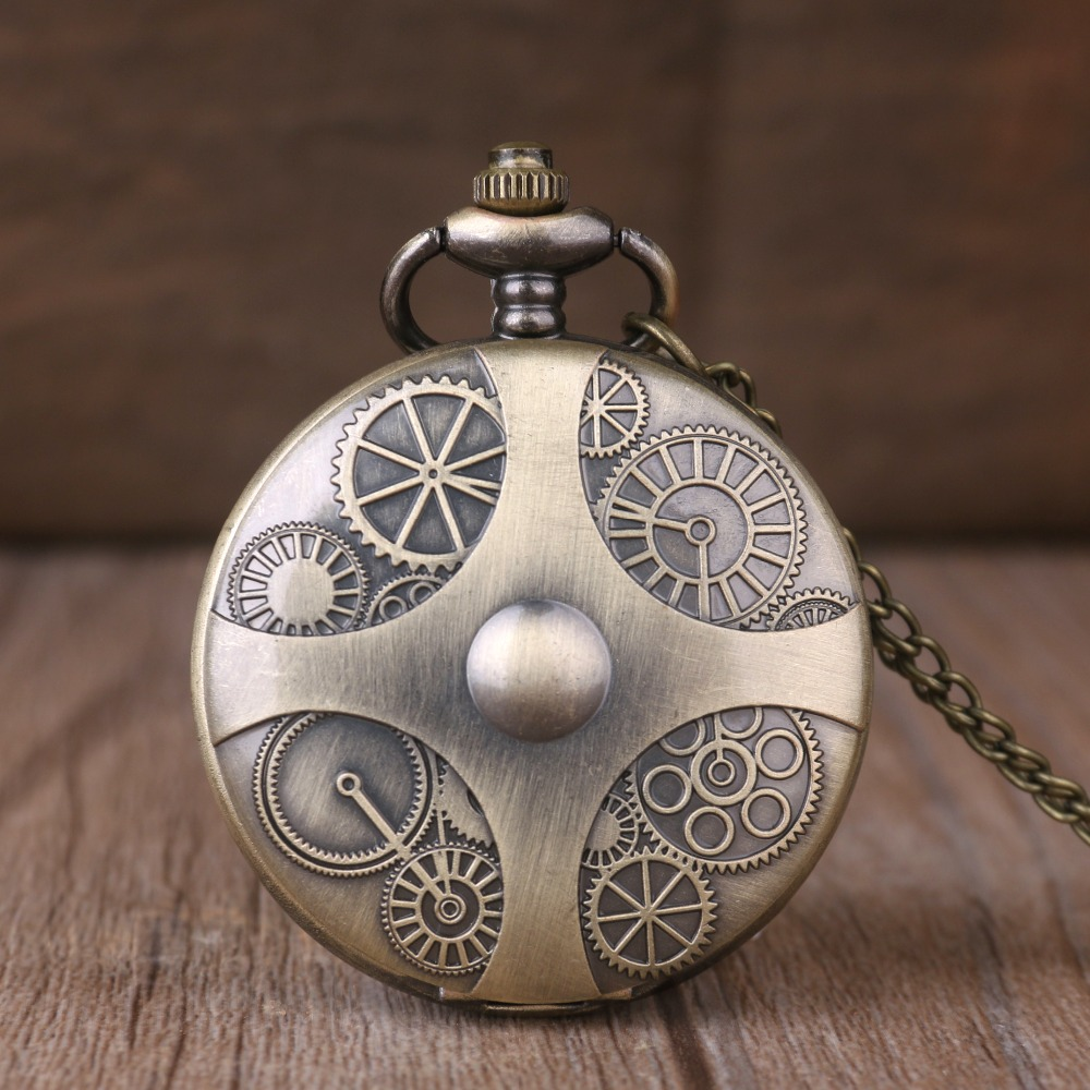 Gear Retro Pocket Watches Men Women Gifts Clock Fashion Bronze Pocket Watch With Chain Arabic Numbers Display