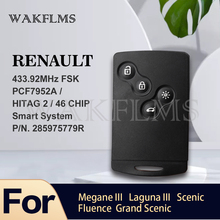 Smart Card For Renault Megane III Fluence Laguna III Scenic 2009 2015 433MHz FSK PCF7952 HandsFree Keyless