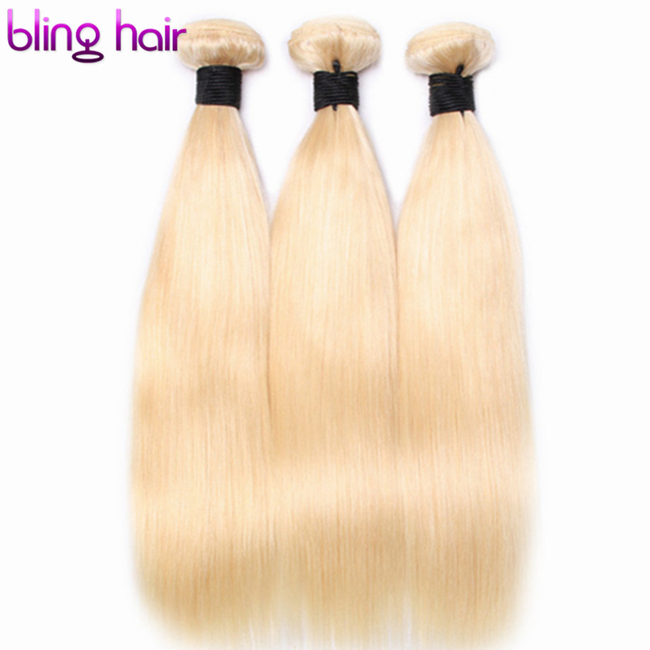 Bling Saç Bal Platin 613 Sarışın Demetleri Brezilyalı düz insan saçı Demetleri 100% Remy Saç Uzatma Makinesi Çift Atkı