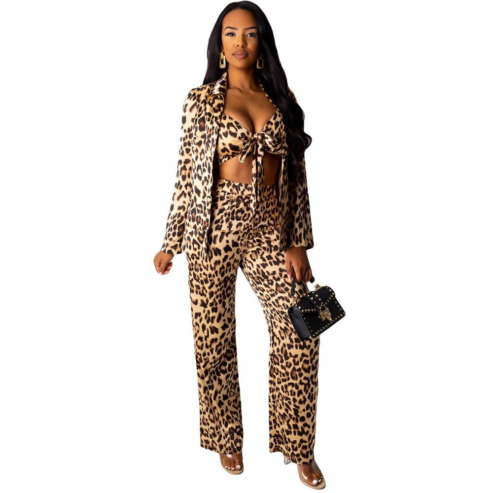 Sexy Crop Top Women Set Leopard 3 Piece Set Office Suit Long Sleeve Blazer Jacket+bow Crop Top+pant Suits Elegant Women Outfits