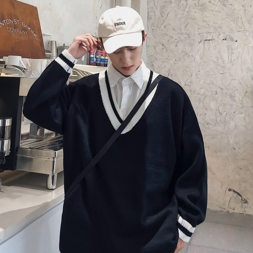 2019 Hong Style Autumn And Winter New Youth Student Loose V-neck Pullover Contrast Color Sweater Men's Top Black/White