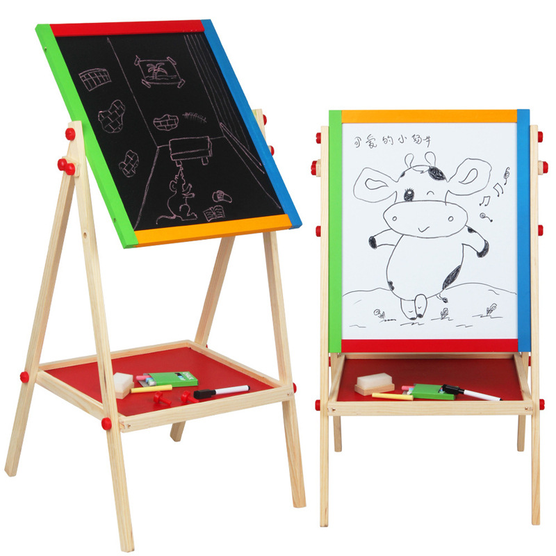Solid Wood Double-Sided Magnetic CHILDREN'S Drawing Board Braced Baby Doing Homework Painted Small Blackboard Manufacturers Dire