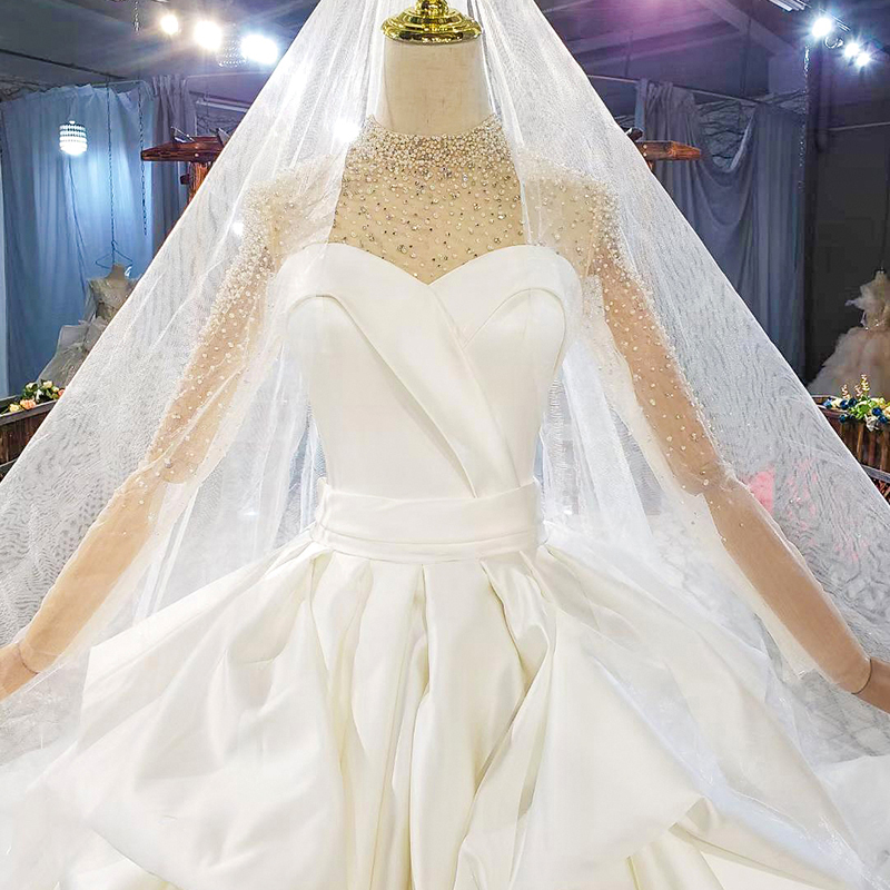 HTL1817 Simple White Sequined Beading Satin Wedding Dress 2020 Sweetheart Long Sleeve Ball Gowns 5