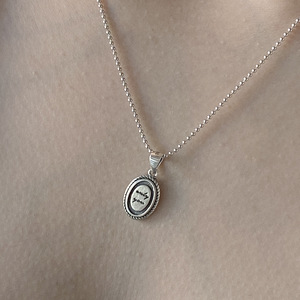 Retro Authentic 925 Sterling silver Letters scrip Oval shape twist pattern Pendants Beads chain necklace Jewelry TLX682