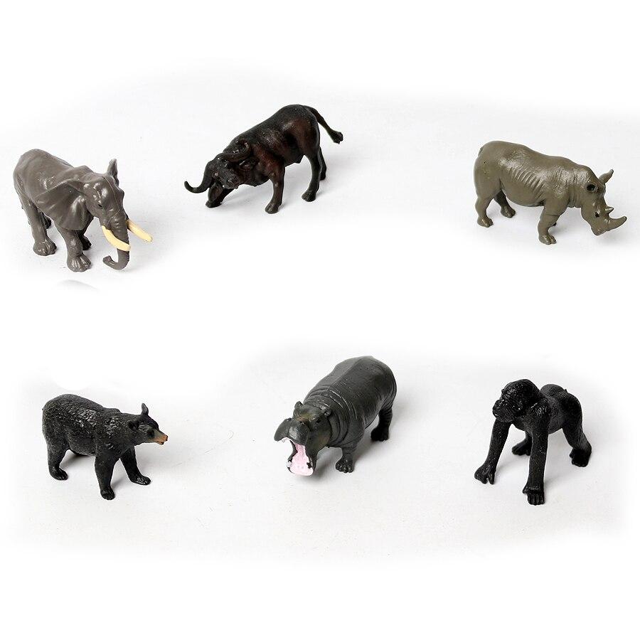 6PCS Mini Forest Jungle Animal Figures elephant Hippo Rhinoceros Buffalo Black bear Gorilla Animals Model Educational Toys