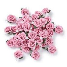 40 Uds. De cabujones de porcelana artesanal, cuentas de arcilla de flor rosa para fabricación de joyería DIY, collar de pulsera de 23 ~ 25x20.5 ~ 21x10 ~ 11mm