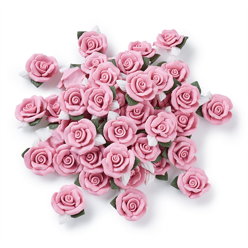 40pcs Handmade Porcelain Cabochons Pink Flower Clay Beads for Jewelry Making DIY Bracelet Necklace 23~25x20.5~21x10~11mm-in Jewelry Findings & Components from Jewelry & Accessories