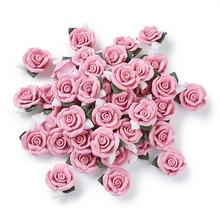 40pcs Handmade Porcelain Cabochons Pink Flower Clay Beads for Jewelry Making DIY Bracelet Necklace 23~25x20.5~21x10~11mm