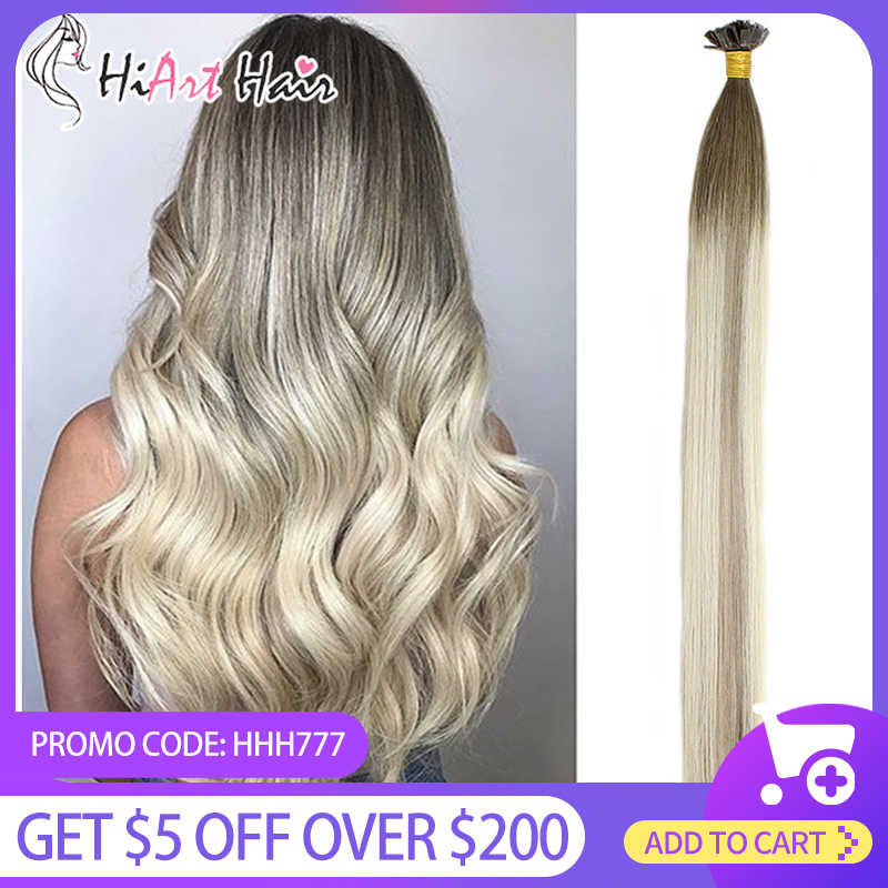 Hiart 0.8 G/s Platte Tip Hair Extensions Salon Double Drawn Human Remy Haar Fabriek Keratine Capsules Extension Straight Balayage