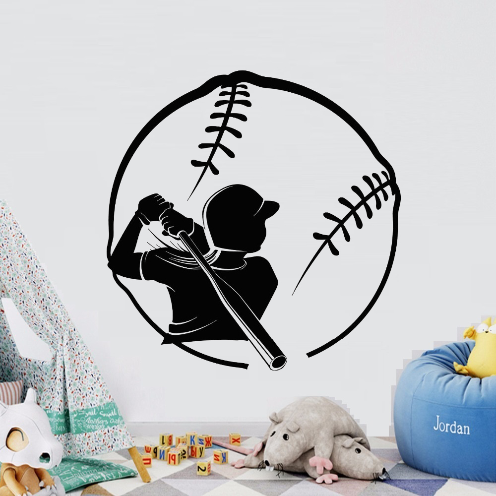 Free Shipping Female Baseball Player Batting Vinyl Wallpaper Mural Wall Stickers Decorative Fashion Sports Wall Decals F 152 Sports Wall Decals Wall Decalswall Sticker Aliexpress